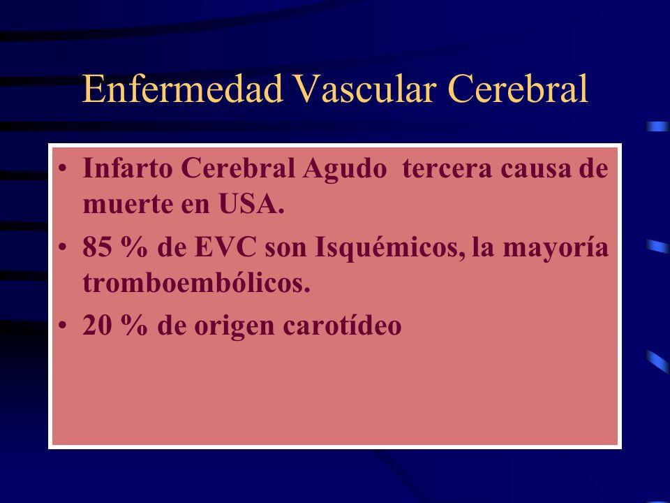 Enfermedad Vascular Cerebral Infarto Cerebral Agudo tercera causa de muerte en USA. 85 % de EVC son Isquémicos, la mayoría tromboembólicos. 20 % de or