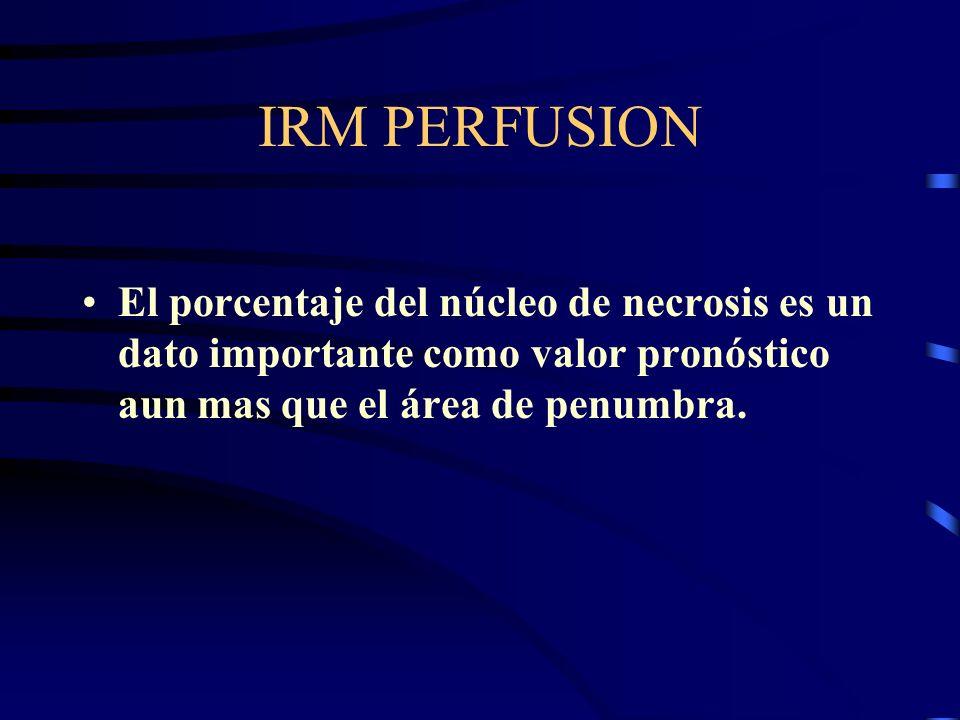 IRM PERFUSION El porcentaje del núcleo de necrosis es un dato importante como valor pronóstico aun mas que el área de penumbra.