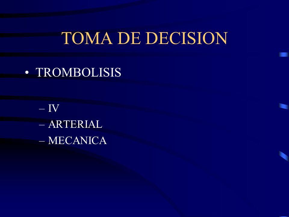 TOMA DE DECISION TROMBOLISIS –IV –ARTERIAL –MECANICA