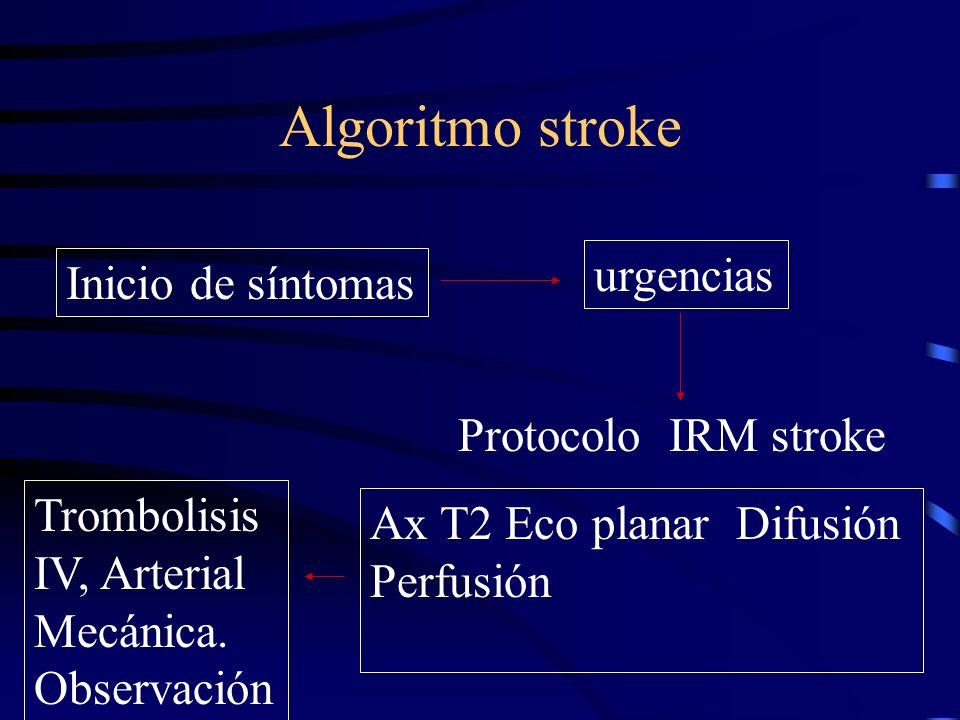Algoritmo stroke Inicio de síntomas urgencias Protocolo IRM stroke Ax T2 Eco planar Difusión Perfusión Trombolisis IV, Arterial Mecánica. Observación