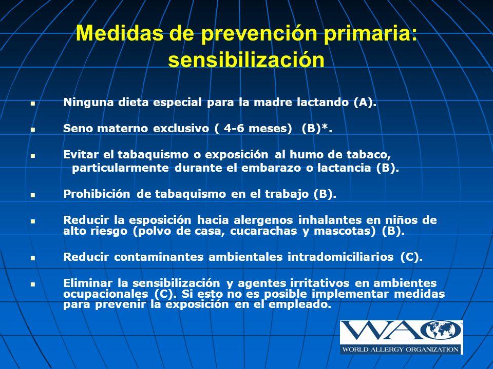 Medidas de prevención primaria: sensibilización Ninguna dieta especial para la madre lactando (A). Seno materno exclusivo ( 4-6 meses) (B)*. Evitar el