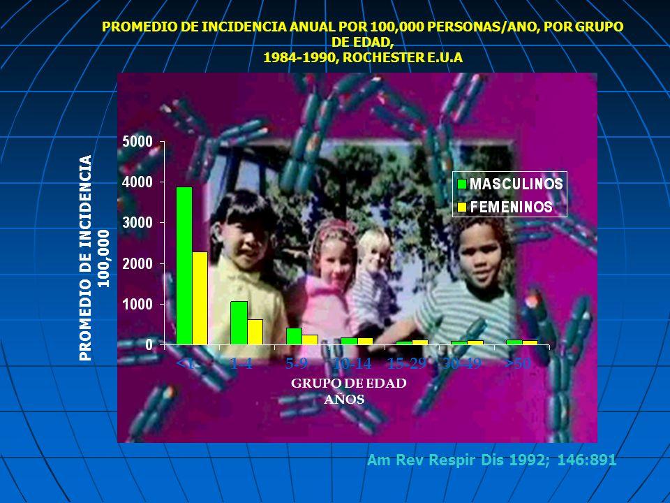 PROMEDIO DE INCIDENCIA ANUAL POR 100,000 PERSONAS/ANO, POR GRUPO DE EDAD, 1984-1990, ROCHESTER E.U.A 1-45-910-1415-2930-49>50<1 GRUPO DE EDAD AÑOS PRO