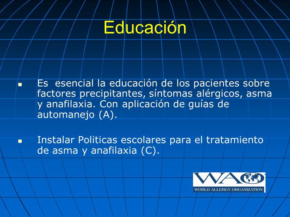 Educación Es esencial la educación de los pacientes sobre factores precipitantes, síntomas alérgicos, asma y anafilaxia. Con aplicación de guías de au