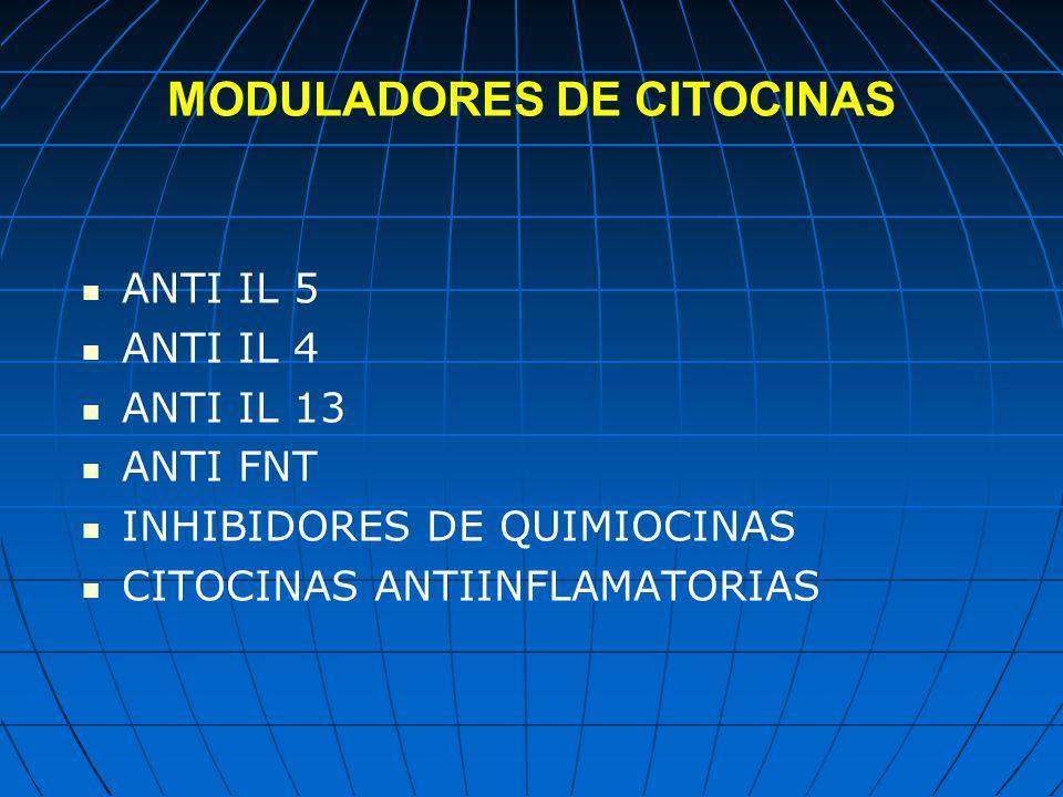 MODULADORES DE CITOCINAS ANTI IL 5 ANTI IL 4 ANTI IL 13 ANTI FNT INHIBIDORES DE QUIMIOCINAS CITOCINAS ANTIINFLAMATORIAS
