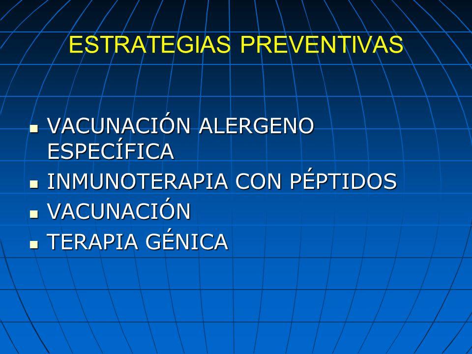 ESTRATEGIAS PREVENTIVAS VACUNACIÓN ALERGENO ESPECÍFICA VACUNACIÓN ALERGENO ESPECÍFICA INMUNOTERAPIA CON PÉPTIDOS INMUNOTERAPIA CON PÉPTIDOS VACUNACIÓN