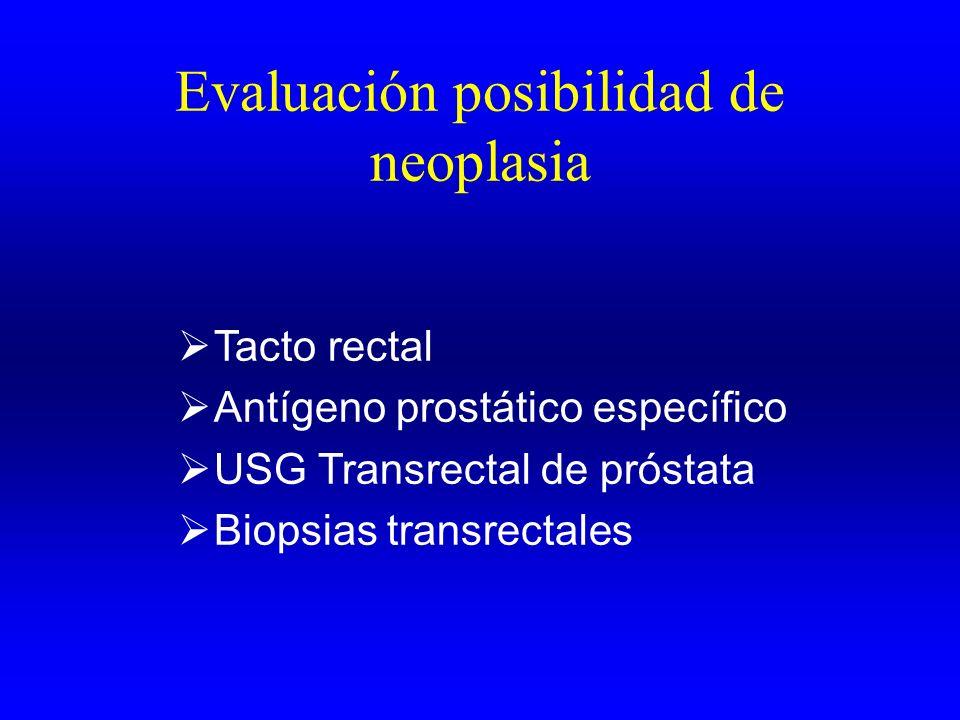 Evaluación posibilidad de neoplasia Tacto rectal Antígeno prostático específico USG Transrectal de próstata Biopsias transrectales