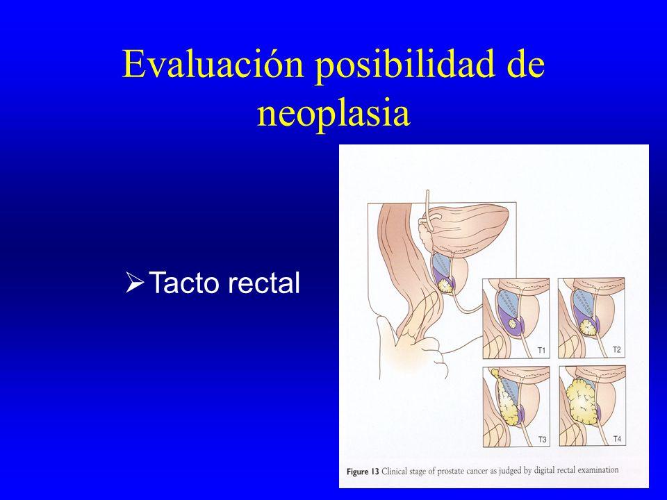 Evaluación posibilidad de neoplasia Tacto rectal