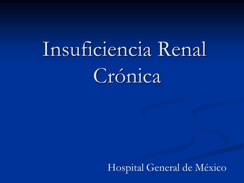 Insuficiencia Renal Crónica Epidemiología: La IRC es uno de los síndromes más importantes en nefrología.