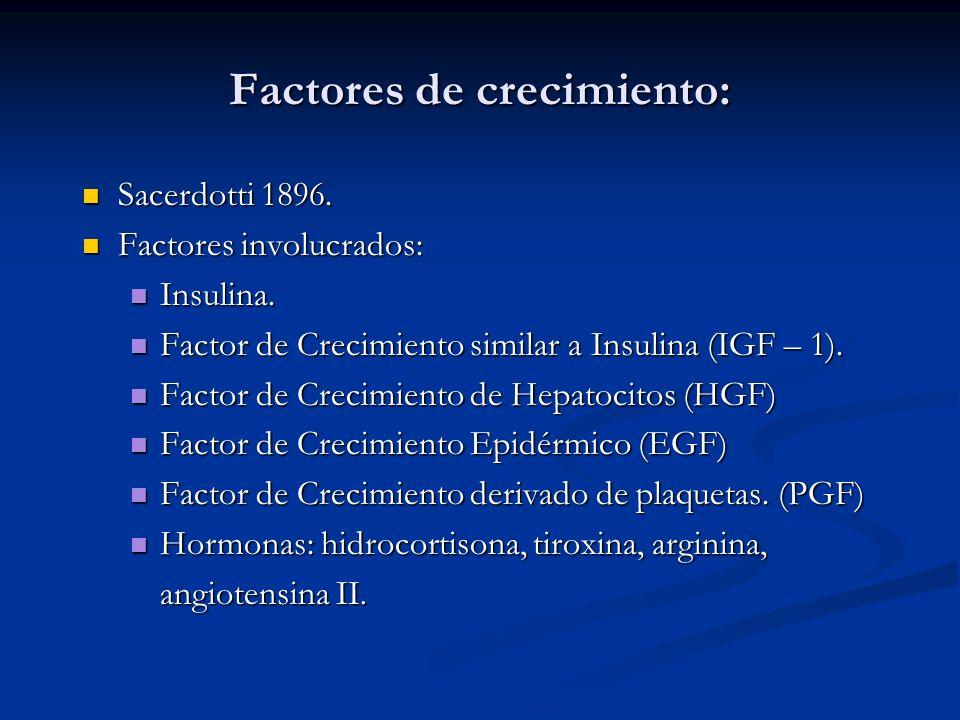 Factores de crecimiento: Sacerdotti 1896. Sacerdotti 1896. Factores involucrados: Factores involucrados: Insulina. Insulina. Factor de Crecimiento sim