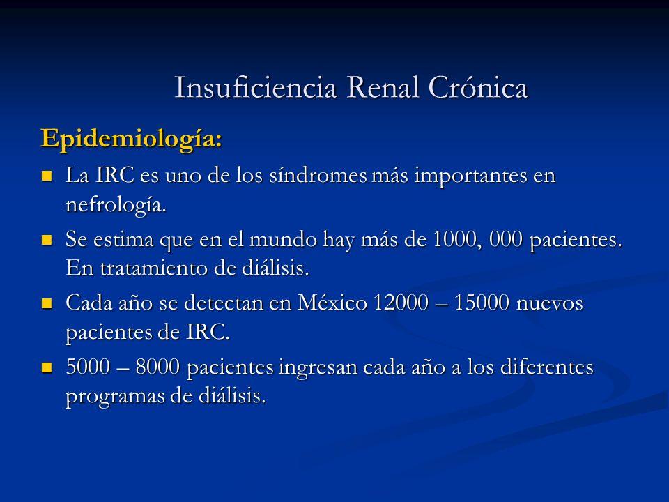 Insuficiencia Renal Crónica Epidemiología: La IRC es uno de los síndromes más importantes en nefrología. La IRC es uno de los síndromes más importante