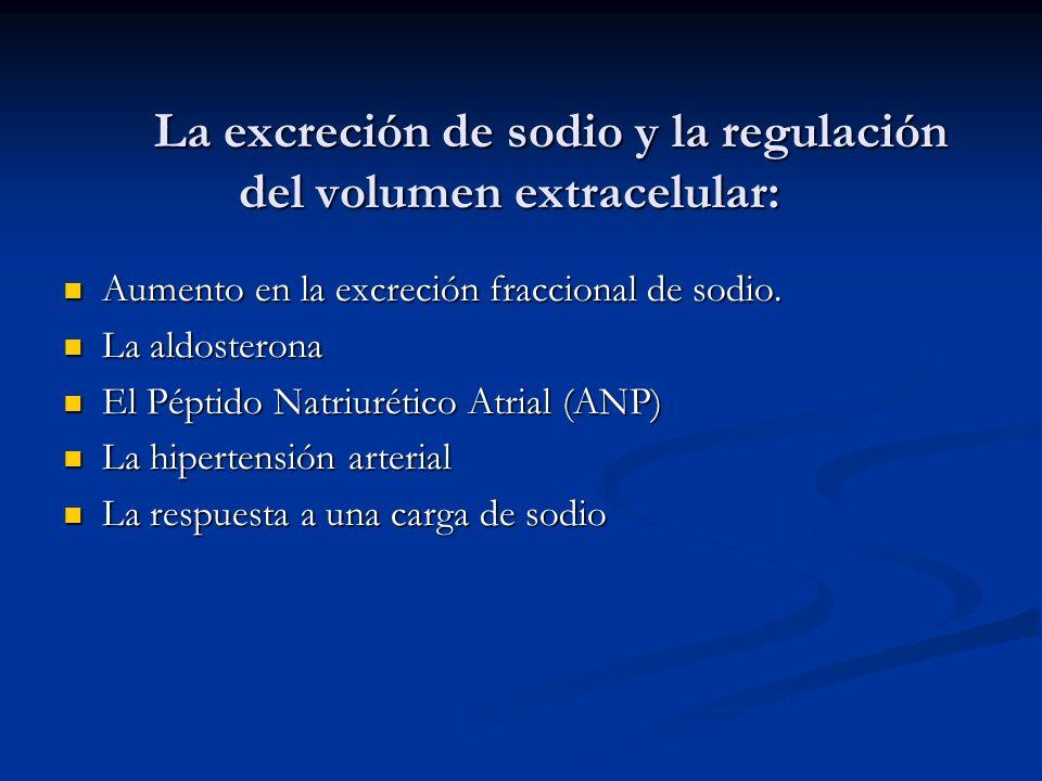 La excreción de sodio y la regulación del volumen extracelular: Aumento en la excreción fraccional de sodio. Aumento en la excreción fraccional de sod
