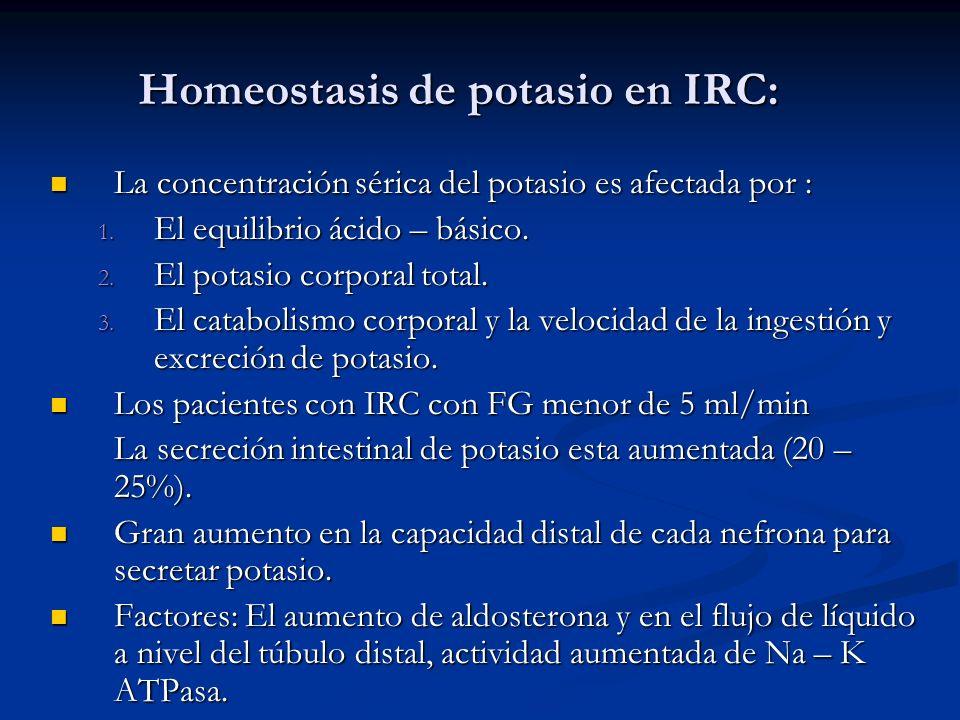 Homeostasis de potasio en IRC: La concentración sérica del potasio es afectada por : La concentración sérica del potasio es afectada por : 1. El equil