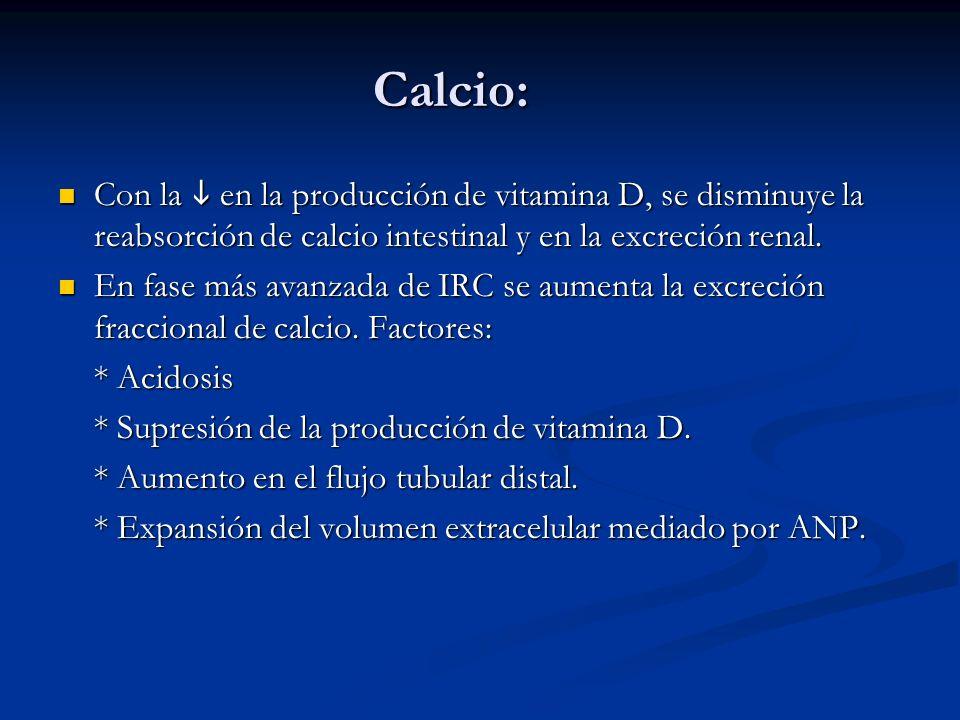 Calcio: Con la en la producción de vitamina D, se disminuye la reabsorción de calcio intestinal y en la excreción renal. Con la en la producción de vi