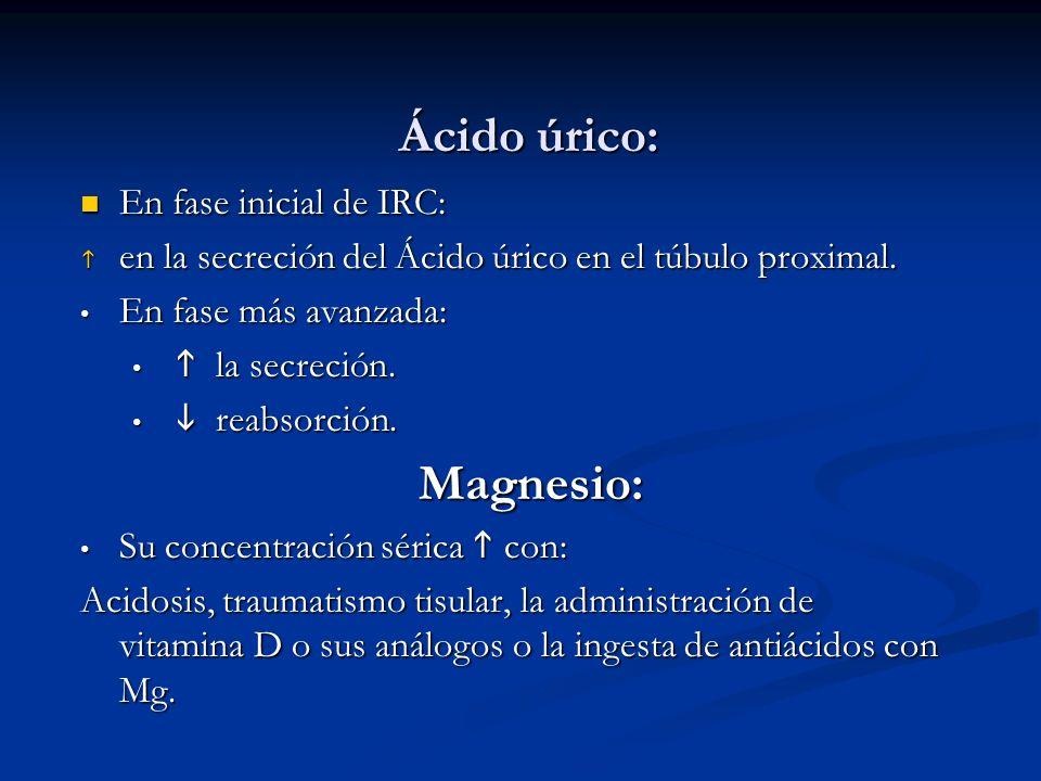 Ácido úrico: En fase inicial de IRC: En fase inicial de IRC: en la secreción del Ácido úrico en el túbulo proximal. en la secreción del Ácido úrico en