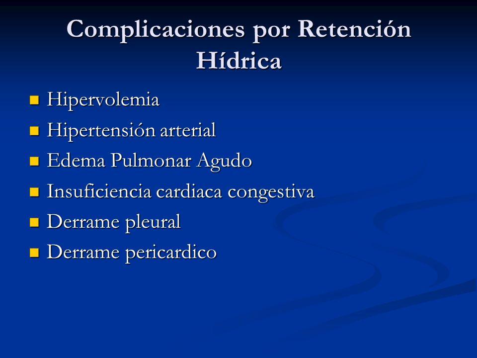 Complicaciones por Retención Hídrica Hipervolemia Hipervolemia Hipertensión arterial Hipertensión arterial Edema Pulmonar Agudo Edema Pulmonar Agudo I