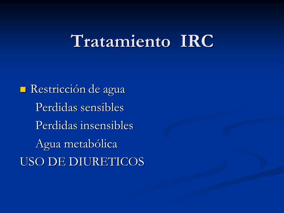 Tratamiento IRC Restricción de agua Restricción de agua Perdidas sensibles Perdidas sensibles Perdidas insensibles Perdidas insensibles Agua metabólic