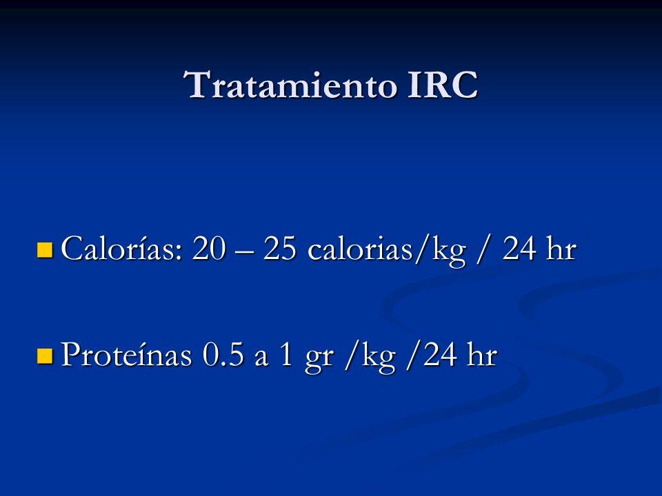 Tratamiento IRC Calorías: 20 – 25 calorias/kg / 24 hr Calorías: 20 – 25 calorias/kg / 24 hr Proteínas 0.5 a 1 gr /kg /24 hr Proteínas 0.5 a 1 gr /kg /
