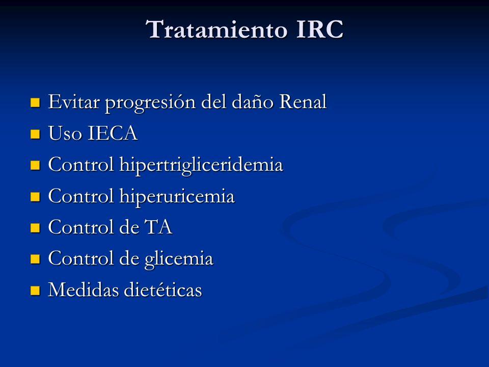 Tratamiento IRC Evitar progresión del daño Renal Evitar progresión del daño Renal Uso IECA Uso IECA Control hipertrigliceridemia Control hipertriglice