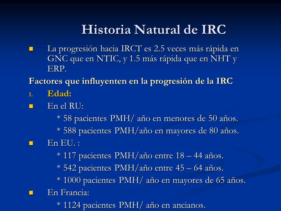 Historia Natural de IRC Historia Natural de IRC La progresión hacia IRCT es 2.5 veces más rápida en GNC que en NTIC, y 1.5 más rápida que en NHT y ERP