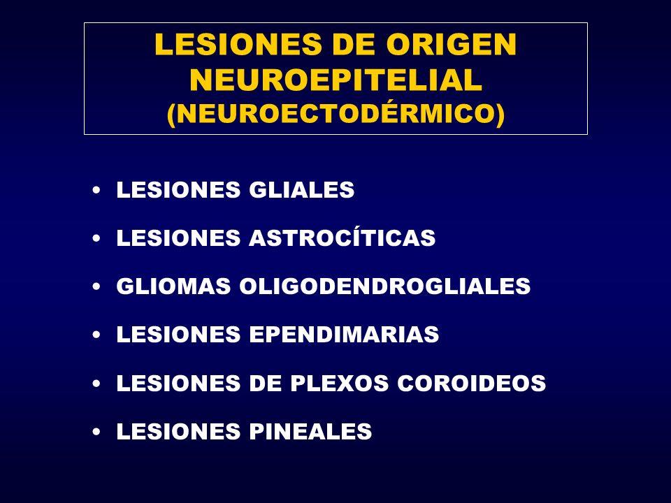 LESIONES DE ORIGEN NEUROEPITELIAL (NEUROECTODÉRMICO) LESIONES GLIALES LESIONES ASTROCÍTICAS GLIOMAS OLIGODENDROGLIALES LESIONES EPENDIMARIAS LESIONES