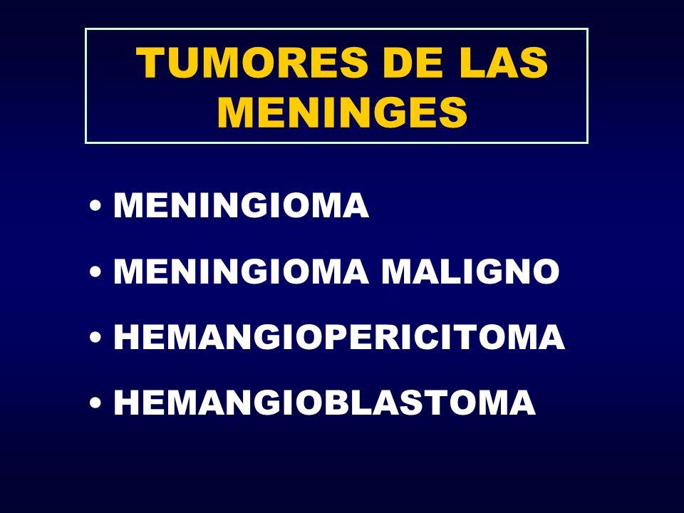 TUMORES DE LAS MENINGES MENINGIOMA MENINGIOMA MALIGNO HEMANGIOPERICITOMA HEMANGIOBLASTOMA