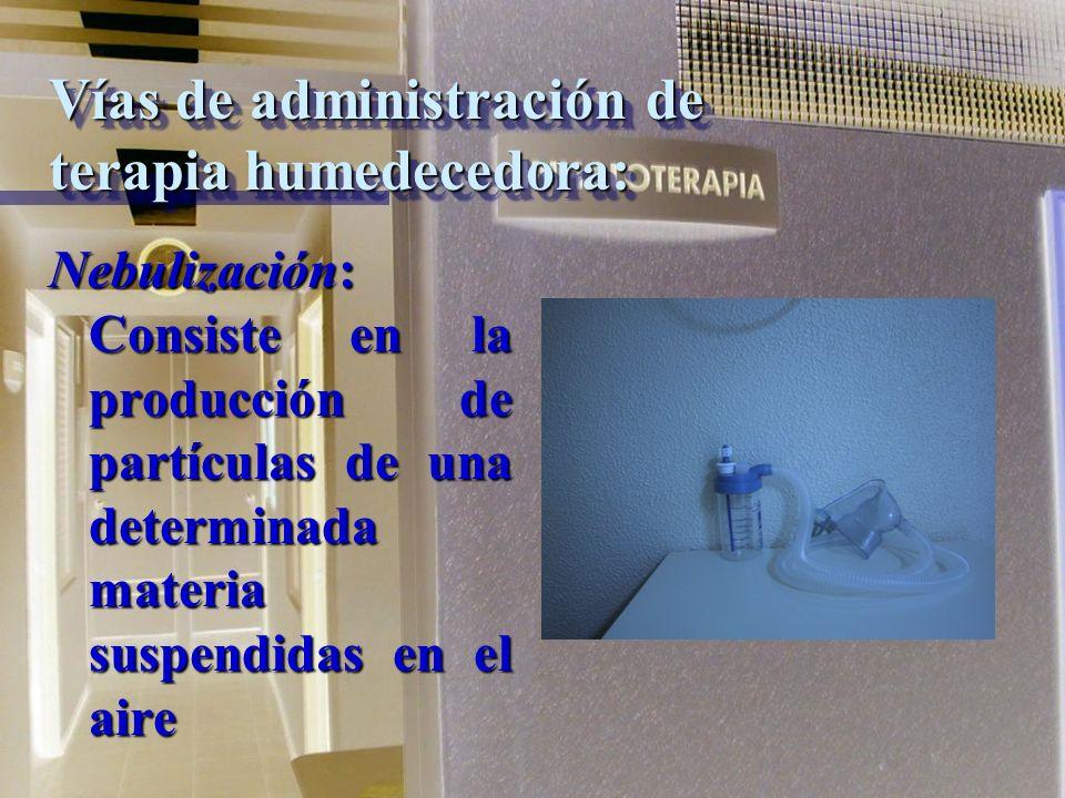 Forma de administración de Terapia Humedecedora: * Cámara * Mascarilla * Presión positiva * Intubación traqueal