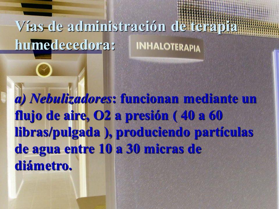 Vías de administración de terapia humedecedora: Nebulización: Consiste en la producción de partículas de una determinada materia suspendidas en el air