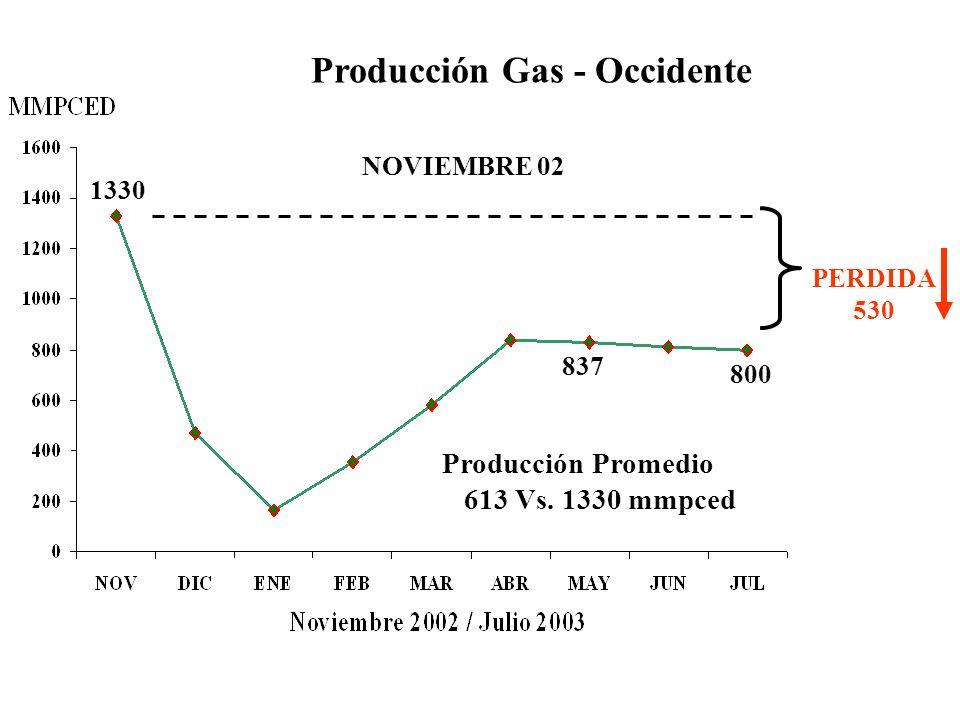 1330 NOVIEMBRE 02 800 PERDIDA 530 Producción Gas - Occidente 837 Producción Promedio 613 Vs.