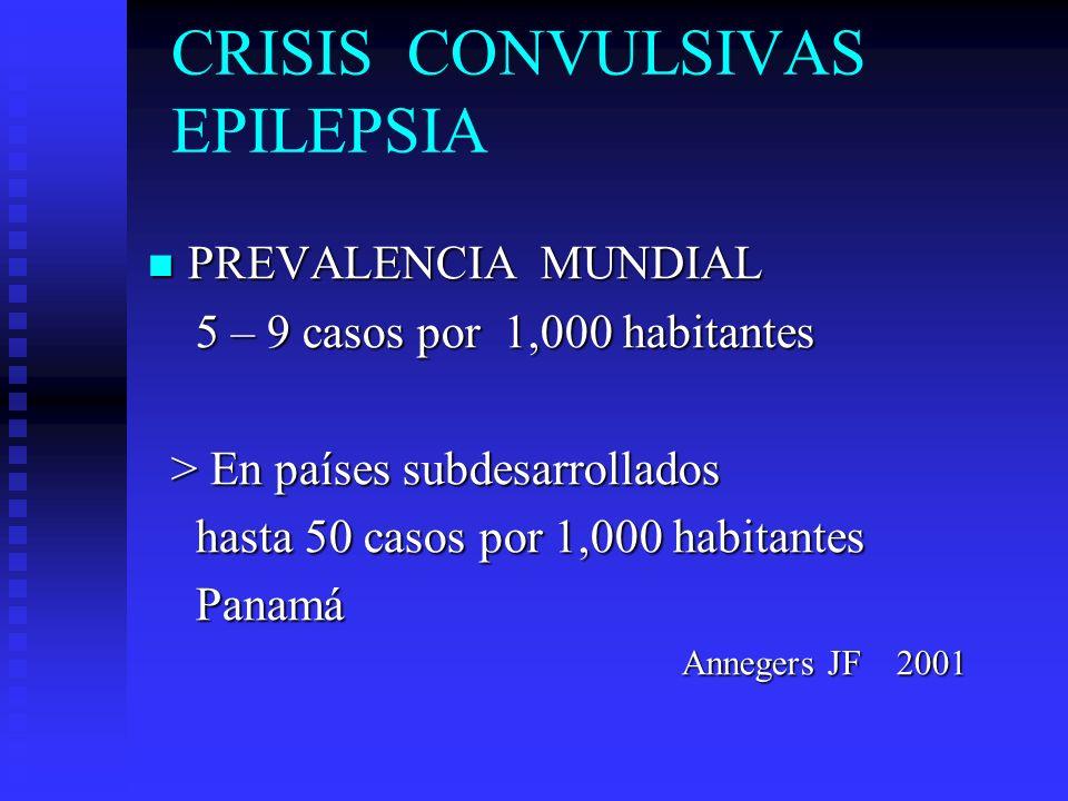 CRISIS CONVULSIVAS EPILEPSIA PREVALENCIA MUNDIAL PREVALENCIA MUNDIAL 5 – 9 casos por 1,000 habitantes 5 – 9 casos por 1,000 habitantes > En países sub