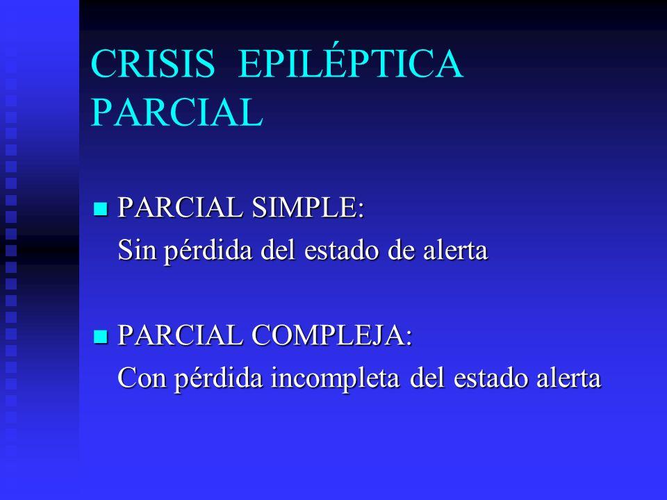 CRISIS EPILÉPTICA PARCIAL PARCIAL SIMPLE: PARCIAL SIMPLE: Sin pérdida del estado de alerta PARCIAL COMPLEJA: PARCIAL COMPLEJA: Con pérdida incompleta