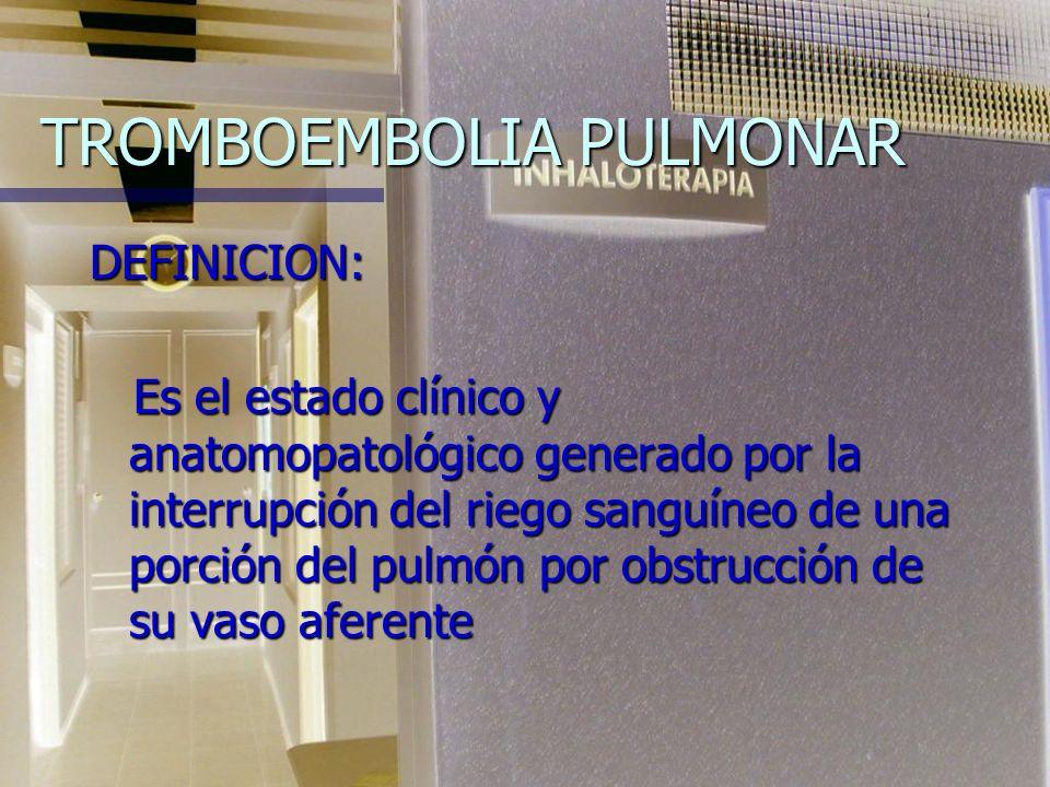 TROMBOEMBOLIA PULMONAR DEFINICION: Es el estado clínico y anatomopatológico generado por la interrupción del riego sanguíneo de una porción del pulmón por obstrucción de su vaso aferente Es el estado clínico y anatomopatológico generado por la interrupción del riego sanguíneo de una porción del pulmón por obstrucción de su vaso aferente