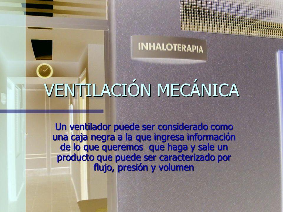 VENTILACIÓN MECÁNICA: - Invasiva. -No invasiva.