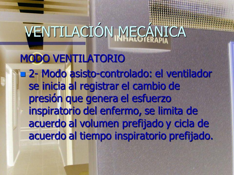 VENTILACIÓN MECÁNICA MODOS VENTILATORIO n 1- Modo controlado: el ventilador administra una cantidad de gas predeterminada a intervalos de tiempo prede
