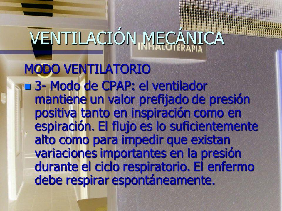 VENTILACIÓN MECÁNICA MODO VENTILATORIO n 2- Modo asisto-controlado: el ventilador se inicia al registrar el cambio de presión que genera el esfuerzo i