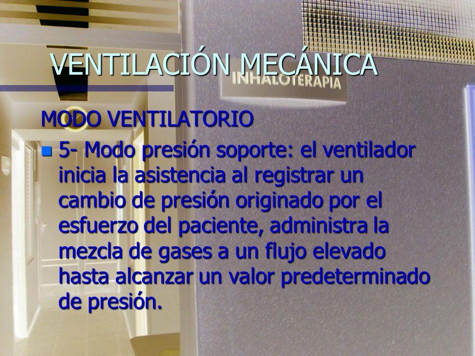 VENTILACIÓN MECÁNICA MODO VENTILATORIO n 4- Modo SIMV: el ventilador se prefija para que administre, a determinado intervalo de tiempo, cierta cantida