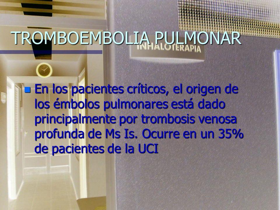 TROMBOEMBOLIA PULMONAR n -Causas idiopáticas 40% n -Cirugías o Traumas 43% n -Enfermedad cardiaca 12% n -Neoplasias 4% n -Enfermedades sistémicas 1%