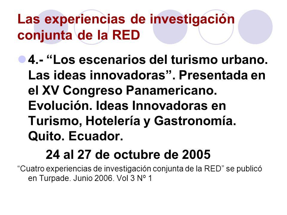 Las experiencias de investigación conjunta de la RED 4.- Los escenarios del turismo urbano. Las ideas innovadoras. Presentada en el XV Congreso Paname