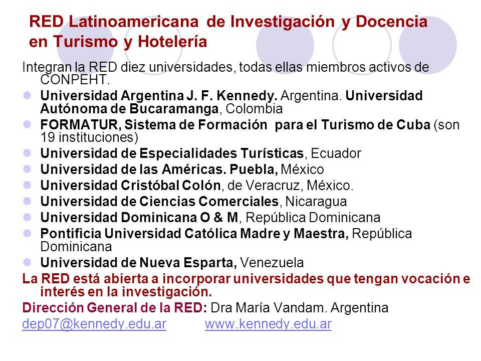 RED Latinoamericana de Investigación y Docencia en Turismo y Hotelería Integran la RED diez universidades, todas ellas miembros activos de CONPEHT. Un