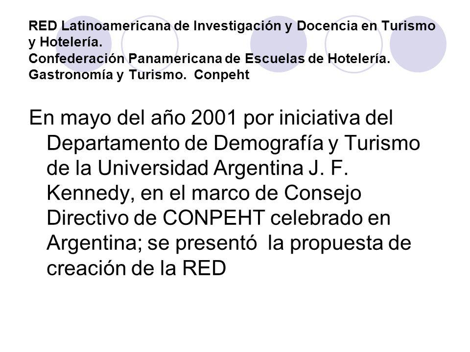 RED Latinoamericana de Investigación y Docencia en Turismo y Hotelería Son 10 universidades vinculadas para la cooperación, la investigación y docencia conjunta en turismo, hotelería y gastronomía.
