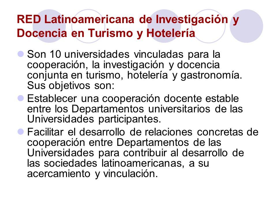 RED Latinoamericana de Investigación y Docencia en Turismo y Hotelería Son 10 universidades vinculadas para la cooperación, la investigación y docenci