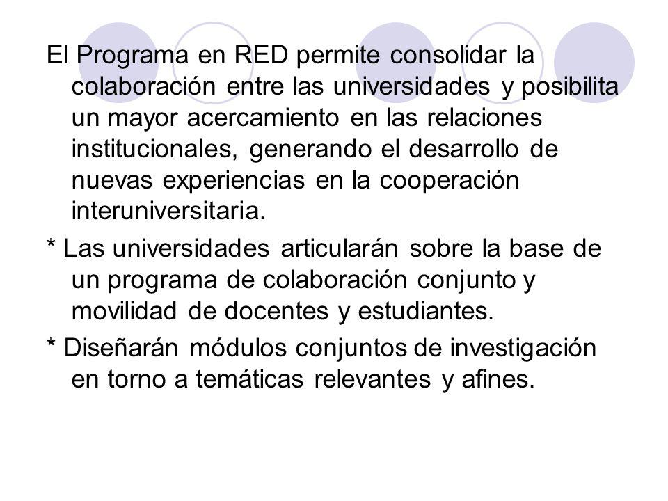 El Programa en RED permite consolidar la colaboración entre las universidades y posibilita un mayor acercamiento en las relaciones institucionales, ge
