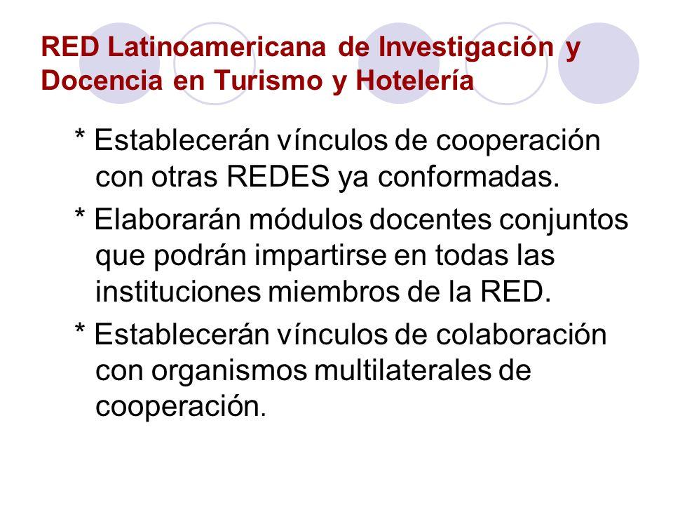 RED Latinoamericana de Investigación y Docencia en Turismo y Hotelería * Establecerán vínculos de cooperación con otras REDES ya conformadas. * Elabor
