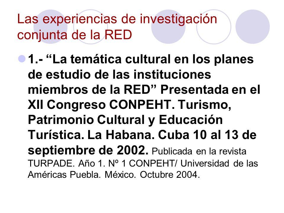 Las experiencias de investigación conjunta de la RED 2.- Turismo y Desarrollo regional.