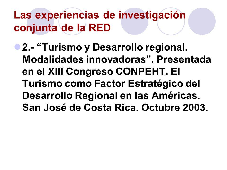 Las experiencias de investigación conjunta de la RED 2.- Turismo y Desarrollo regional. Modalidades innovadoras. Presentada en el XIII Congreso CONPEH