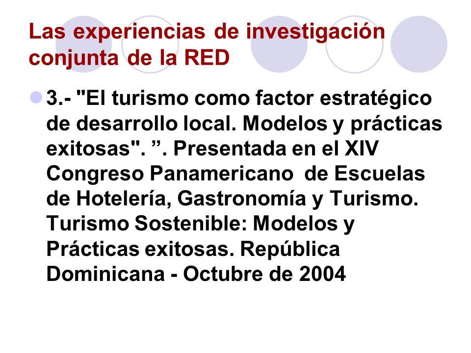 Las experiencias de investigación conjunta de la RED 4.- Los escenarios del turismo urbano.