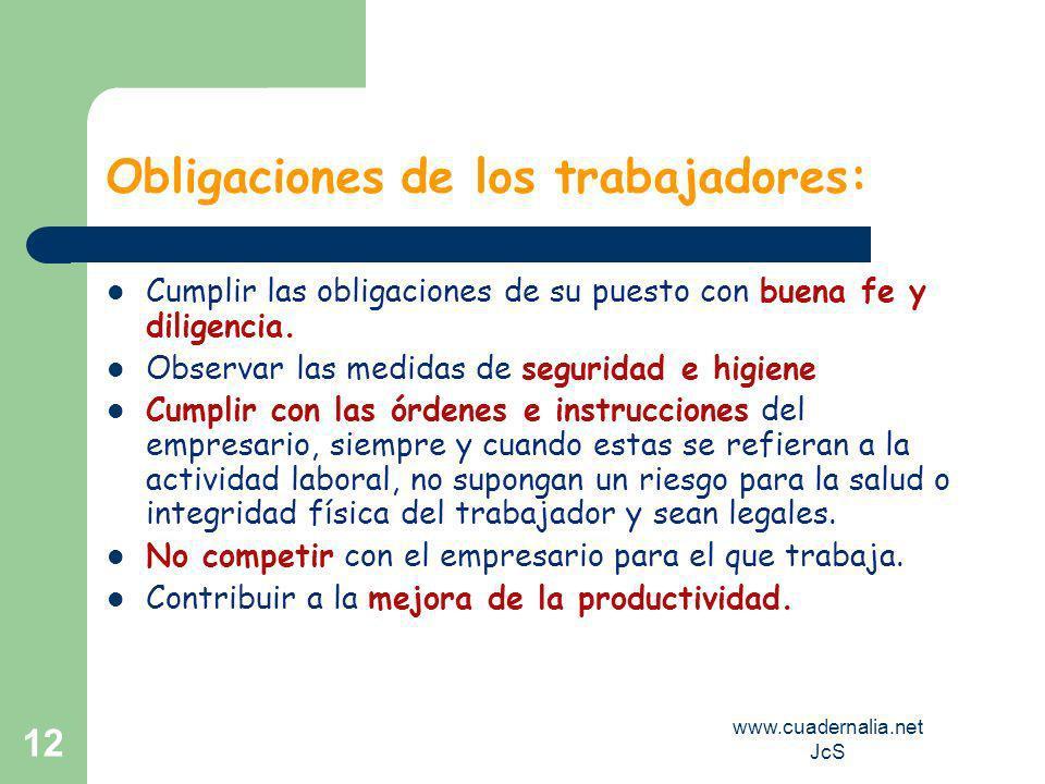 www.cuadernalia.net JcS 11 Derechos derivados de la Relación Laboral……. A la ocupación efectiva A la promoción y formación profesional A no ser discri
