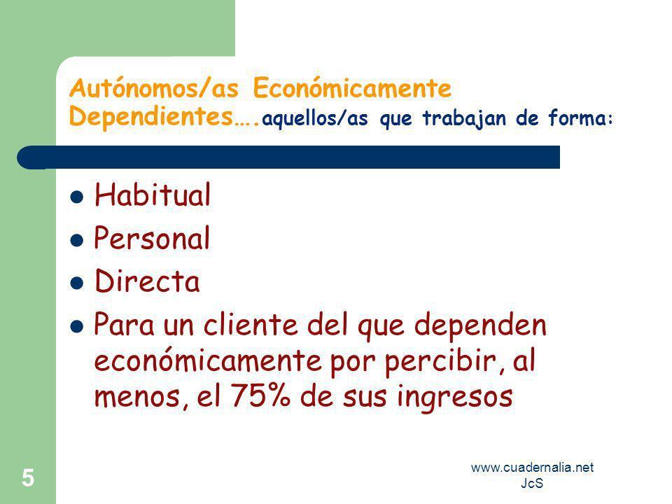 www.cuadernalia.net JcS 4 Relaciones o Trabajos Excluidos Funcionarios Públicos Prestaciones Personales Obligatorias Consejeros de Sociedades (única a
