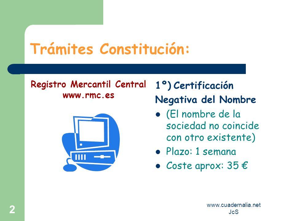 www.cuadernalia.net JcS 2 Trámites Constitución: 1º) Certificación Negativa del Nombre (El nombre de la sociedad no coincide con otro existente) Plazo