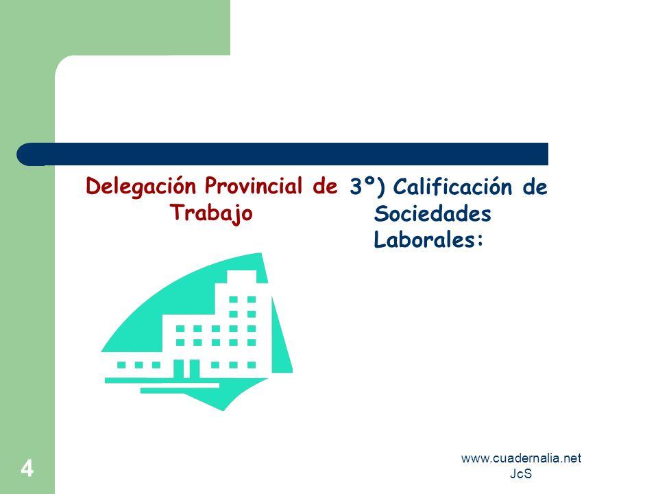 www.cuadernalia.net JcS 4 3º) Calificación de Sociedades Laborales: Delegación Provincial de Trabajo
