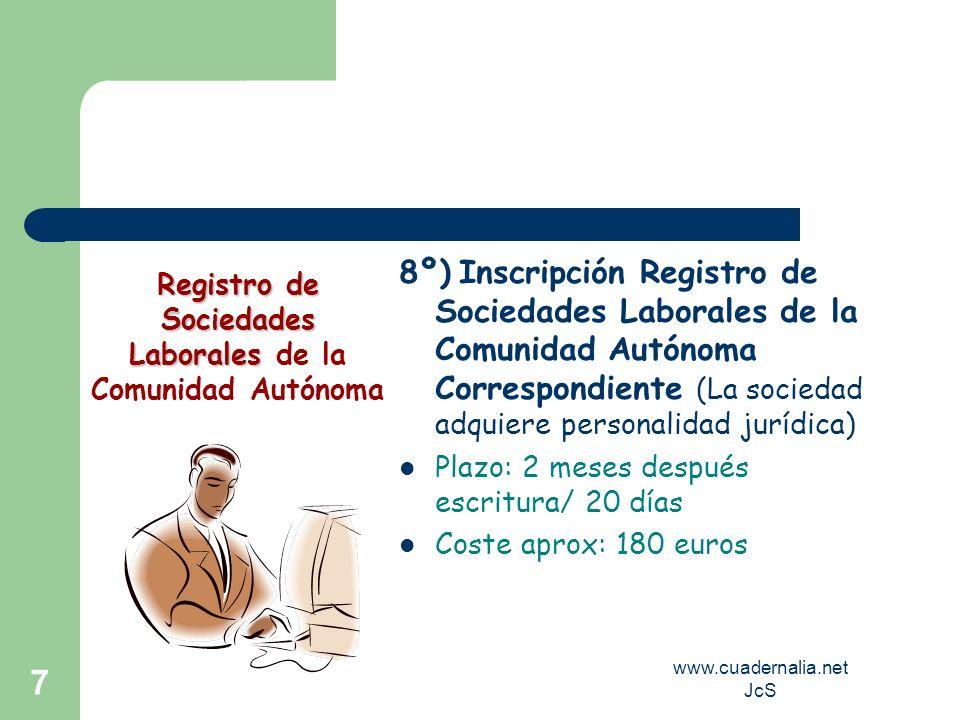 www.cuadernalia.net JcS 7 8º) Inscripción Registro de Sociedades Laborales de la Comunidad Autónoma Correspondiente (La sociedad adquiere personalidad